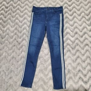 Express Blue Striped High Rise Ankle Jeans 8R